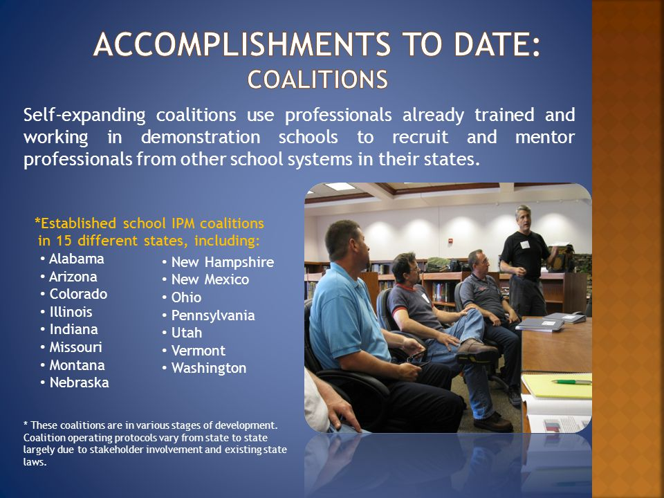 Self-expanding coalitions use professionals already trained and working in demonstration schools to recruit and mentor professionals from other school systems in their states.