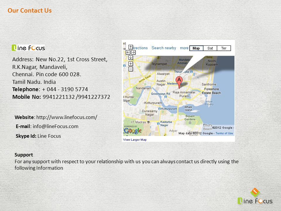 Our Contact Us Address: New No.22, 1st Cross Street, R.K.Nagar, Mandaveli, Chennai.