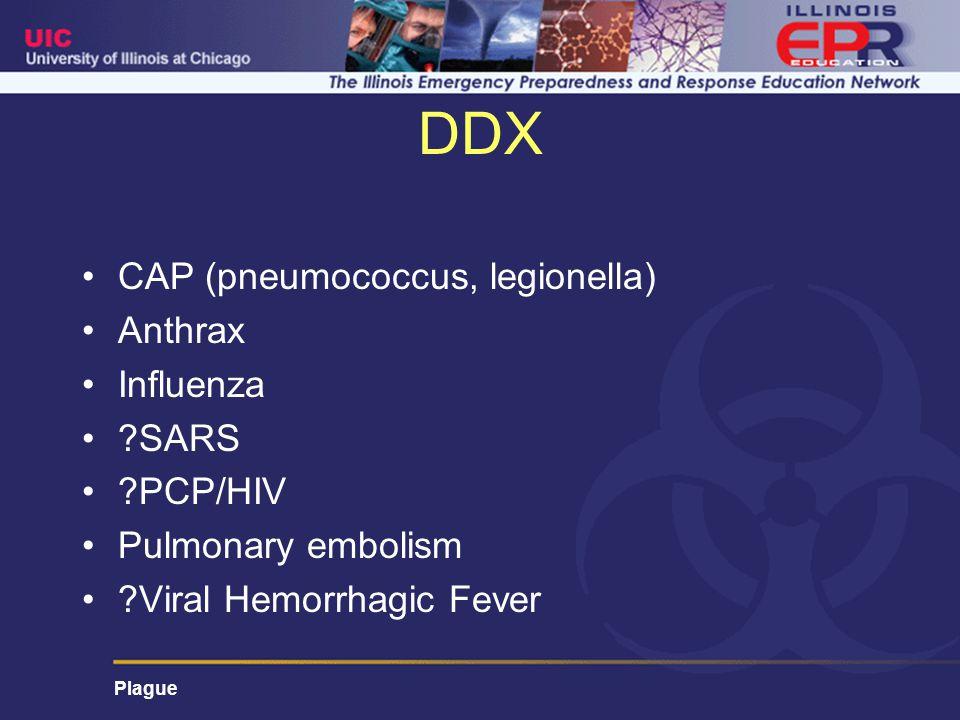 DDX CAP (pneumococcus, legionella) Anthrax Influenza SARS PCP/HIV Pulmonary embolism Viral Hemorrhagic Fever