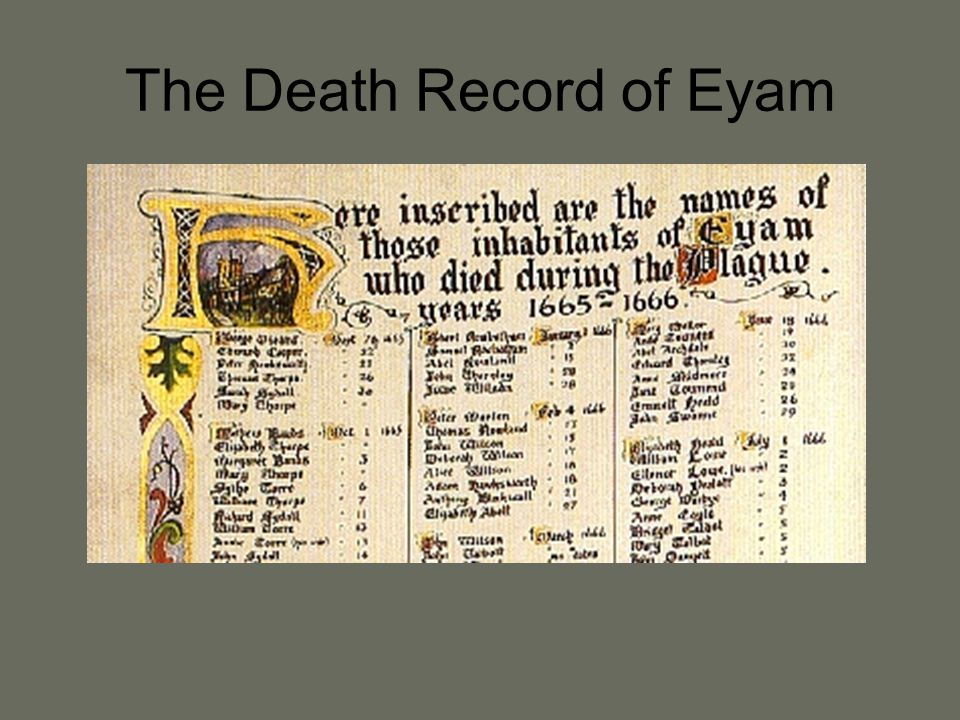 The Death Record of Eyam