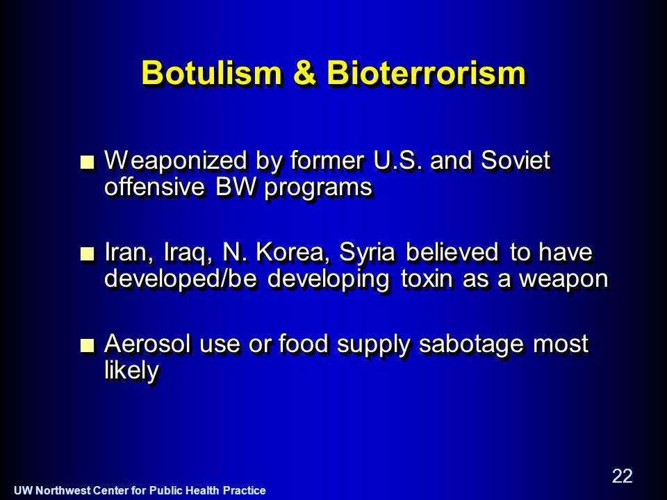 UW Northwest Center for Public Health Practice 22 Botulism & Bioterrorism Weaponized by former U.S.
