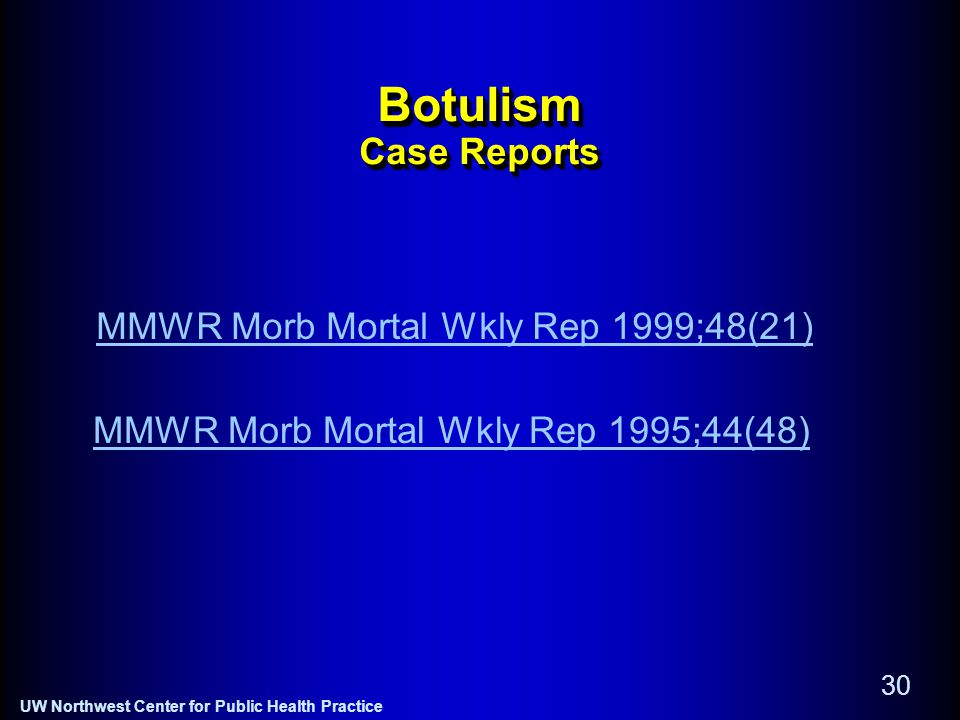 UW Northwest Center for Public Health Practice 30 Botulism Case Reports MMWR Morb Mortal Wkly Rep 1995;44(48) MMWR Morb Mortal Wkly Rep 1999;48(21)