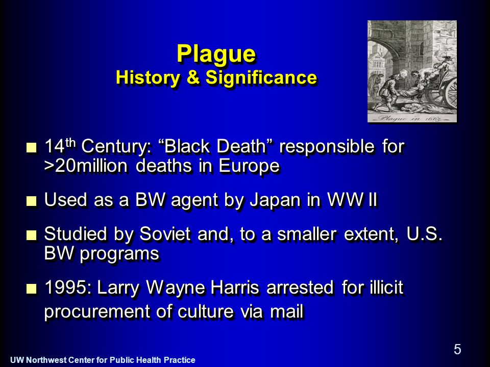 UW Northwest Center for Public Health Practice 5 Plague History & Significance 14 th Century: Black Death responsible for >20million deaths in Europe Used as a BW agent by Japan in WW II Studied by Soviet and, to a smaller extent, U.S.