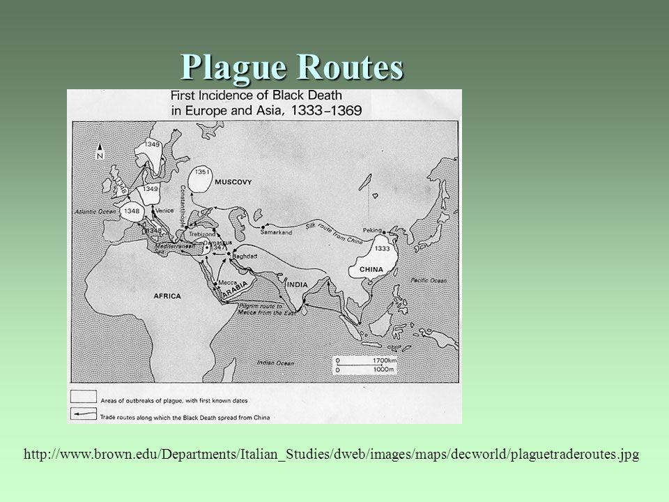 Plague Routes http://www.brown.edu/Departments/Italian_Studies/dweb/images/maps/decworld/plaguetraderoutes.jpg