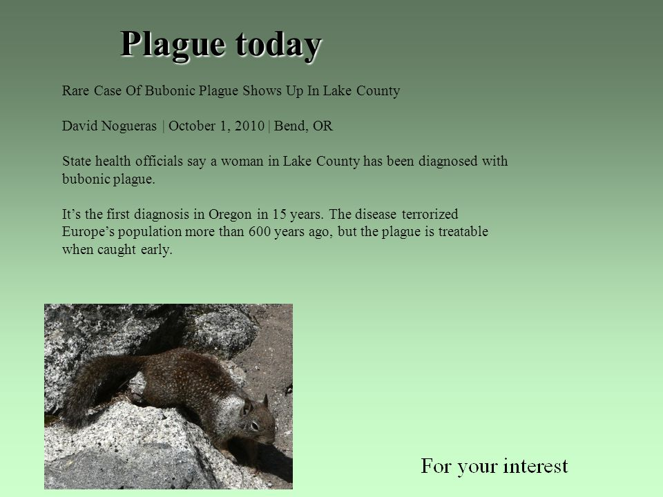 Plague today Rare Case Of Bubonic Plague Shows Up In Lake County David Nogueras | October 1, 2010 | Bend, OR State health officials say a woman in Lake County has been diagnosed with bubonic plague.