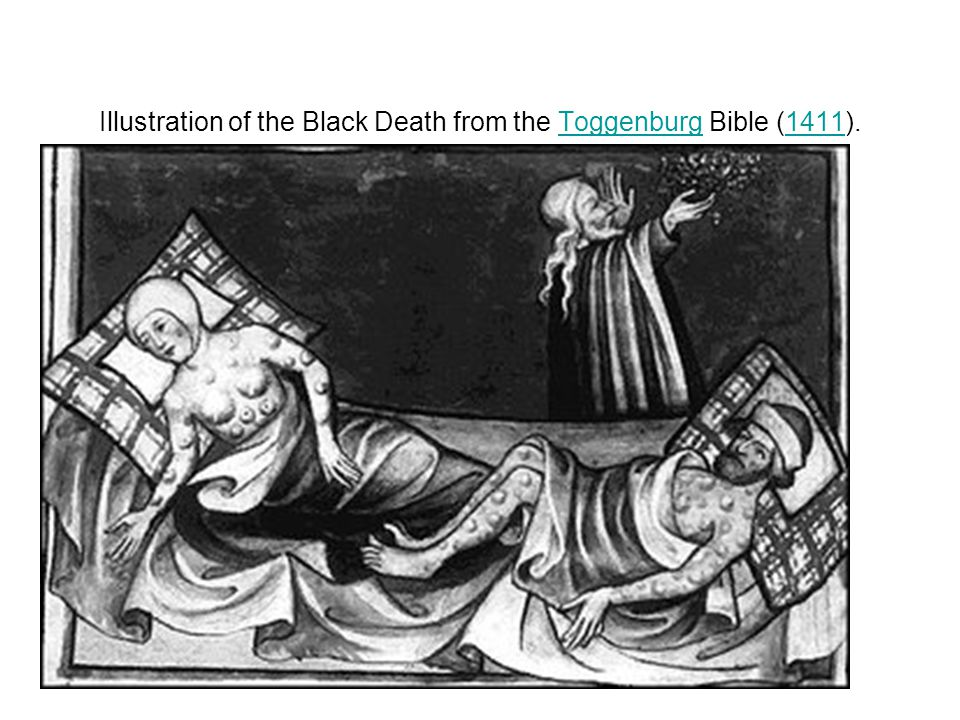 Illustration of the Black Death from the Toggenburg Bible (1411).Toggenburg1411