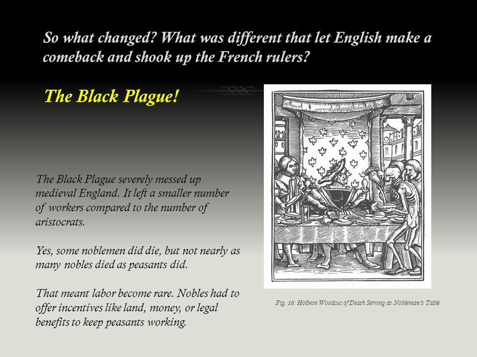 So what changed? What was different that let English make a comeback and shook up the French rulers? The Black Plague! The Black Plague severely messe