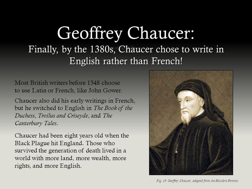 Geoffrey Chaucer: Finally, by the 1380s, Chaucer chose to write in English rather than French.