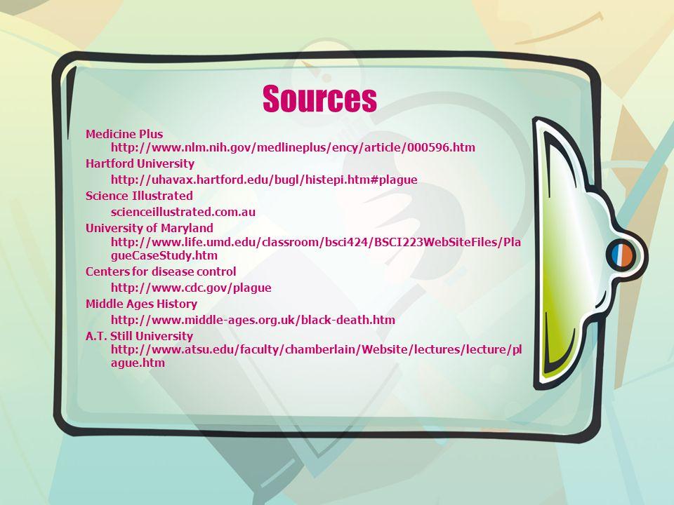 Sources Medicine Plus http://www.nlm.nih.gov/medlineplus/ency/article/000596.htm Hartford University http://uhavax.hartford.edu/bugl/histepi.htm#plagu