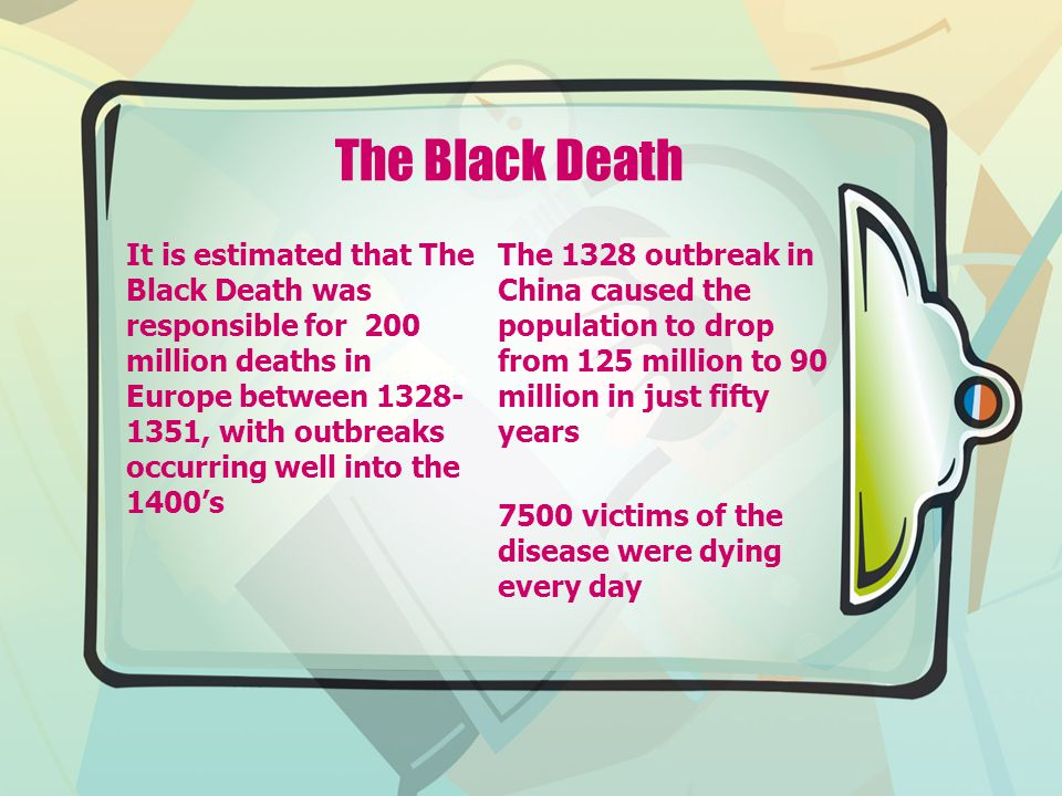 The Black Death It is estimated that The Black Death was responsible for 200 million deaths in Europe between 1328- 1351, with outbreaks occurring wel