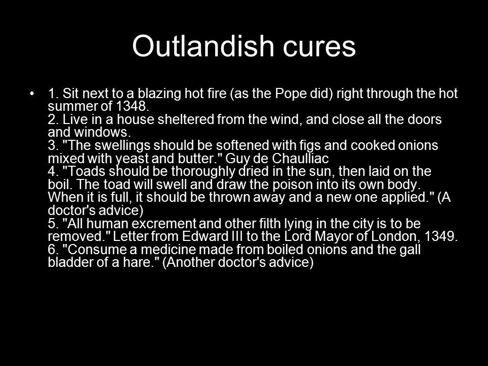 Outlandish cures 1.