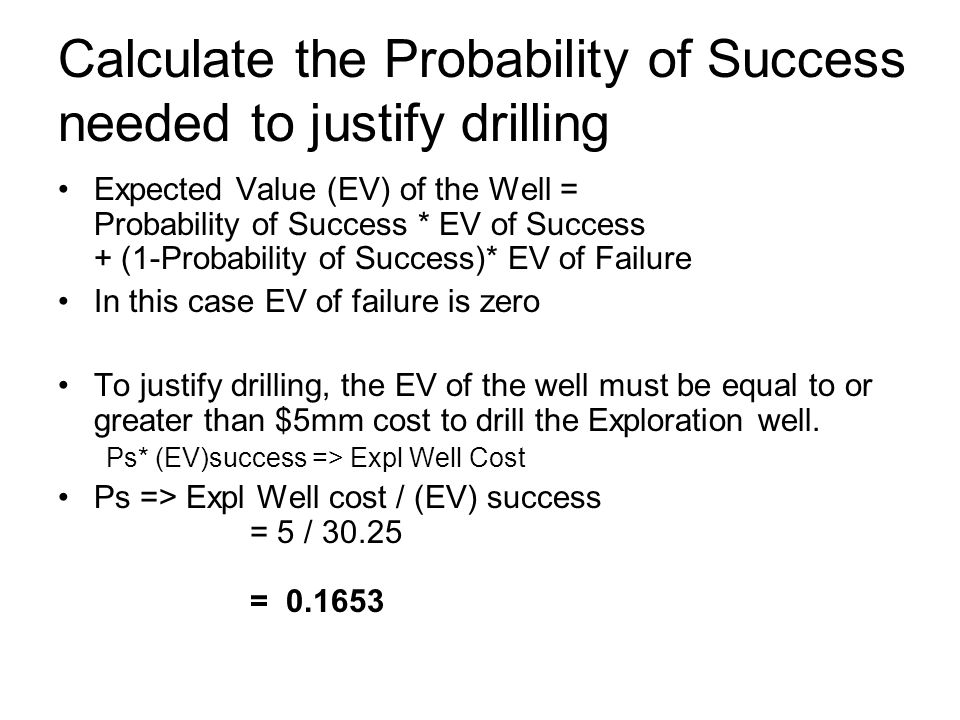 Calculate the Probability of Success needed to justify drilling Expected Value (EV) of the Well = Probability of Success * EV of Success + (1-Probabil