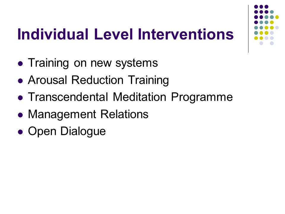 Individual Level Interventions Training on new systems Arousal Reduction Training Transcendental Meditation Programme Management Relations Open Dialogue