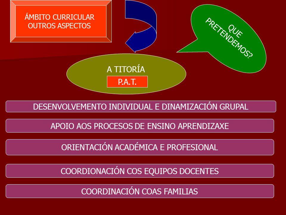 ÁMBITO CURRICULAR OUTROS ASPECTOS A TITORÍA DESENVOLVEMENTO INDIVIDUAL E DINAMIZACIÓN GRUPAL APOIO AOS PROCESOS DE ENSINO APRENDIZAXE ORIENTACIÓN ACADÉMICA E PROFESIONAL COORDIONACIÓN COS EQUIPOS DOCENTES COORDINACIÓN COAS FAMILIAS QUE PRETENDEMOS.
