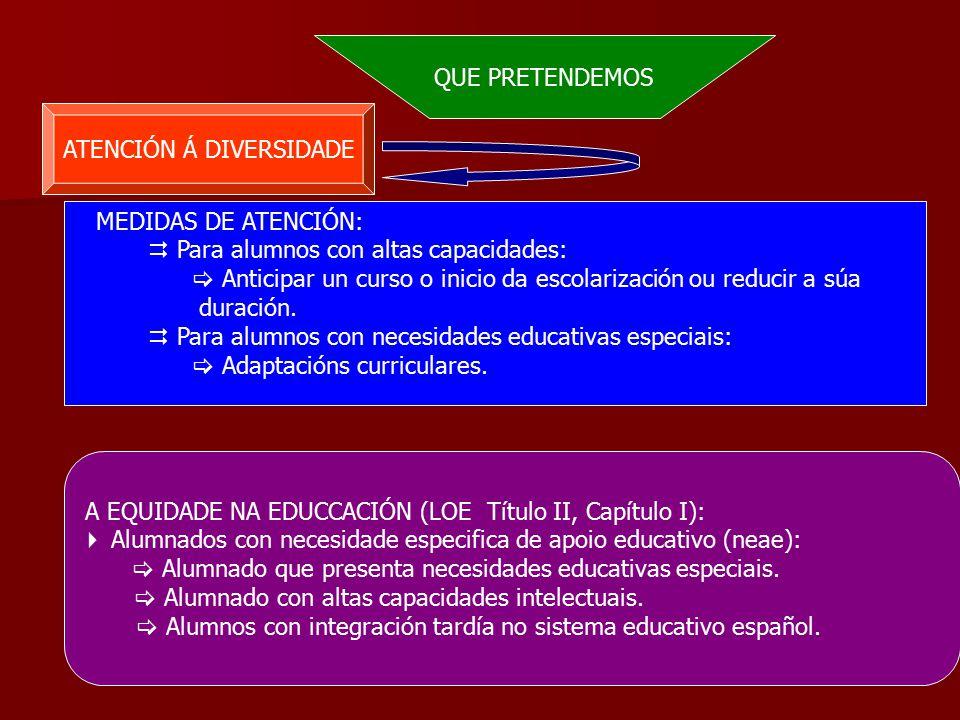 QUE PRETENDEMOS ATENCIÓN Á DIVERSIDADE MEDIDAS DE ATENCIÓN:  Para alumnos con altas capacidades:  Anticipar un curso o inicio da escolarización ou reducir a súa duración.