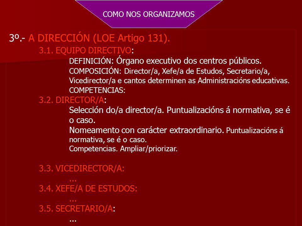 COMO NOS ORGANIZAMOS 3º.- A DIRECCIÓN (LOE Artigo 131).