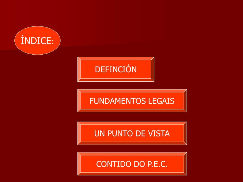 DEFINCIÓN FUNDAMENTOS LEGAIS UN PUNTO DE VISTA CONTIDO DO P.E.C. ÍNDICE :