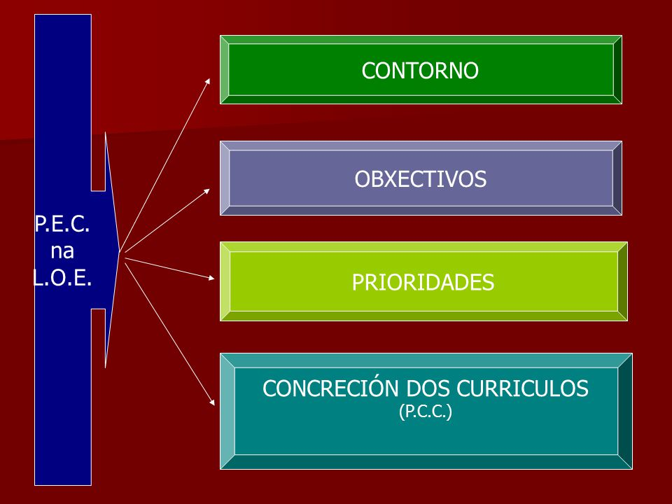 P.E.C. na L.O.E. CONTORNO OBXECTIVOS PRIORIDADES CONCRECIÓN DOS CURRICULOS (P.C.C.)
