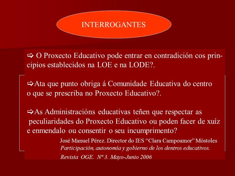 INTERROGANTES  O Proxecto Educativo pode entrar en contradición cos prin- cipios establecidos na LOE e na LODE?.