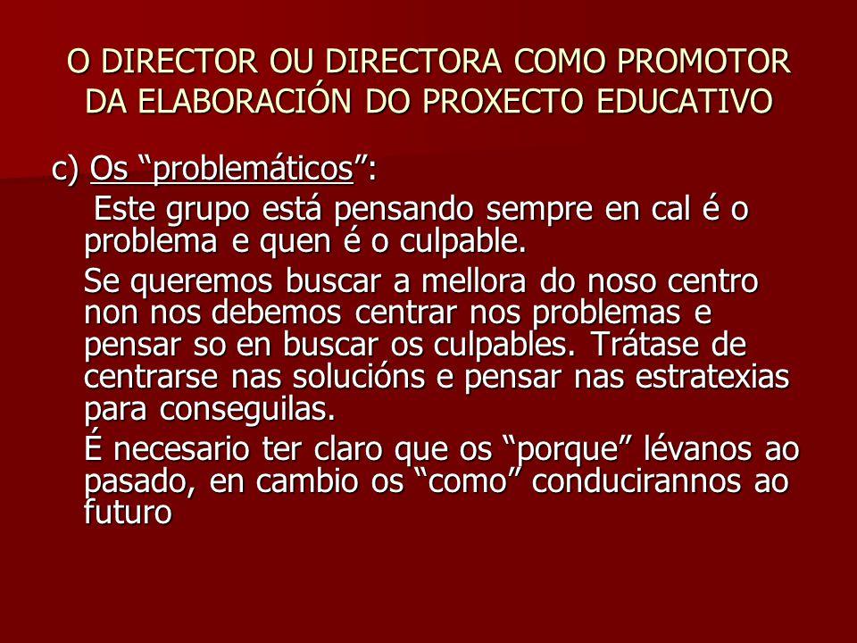 O DIRECTOR OU DIRECTORA COMO PROMOTOR DA ELABORACIÓN DO PROXECTO EDUCATIVO c) Os problemáticos : Este grupo está pensando sempre en cal é o problema e quen é o culpable.