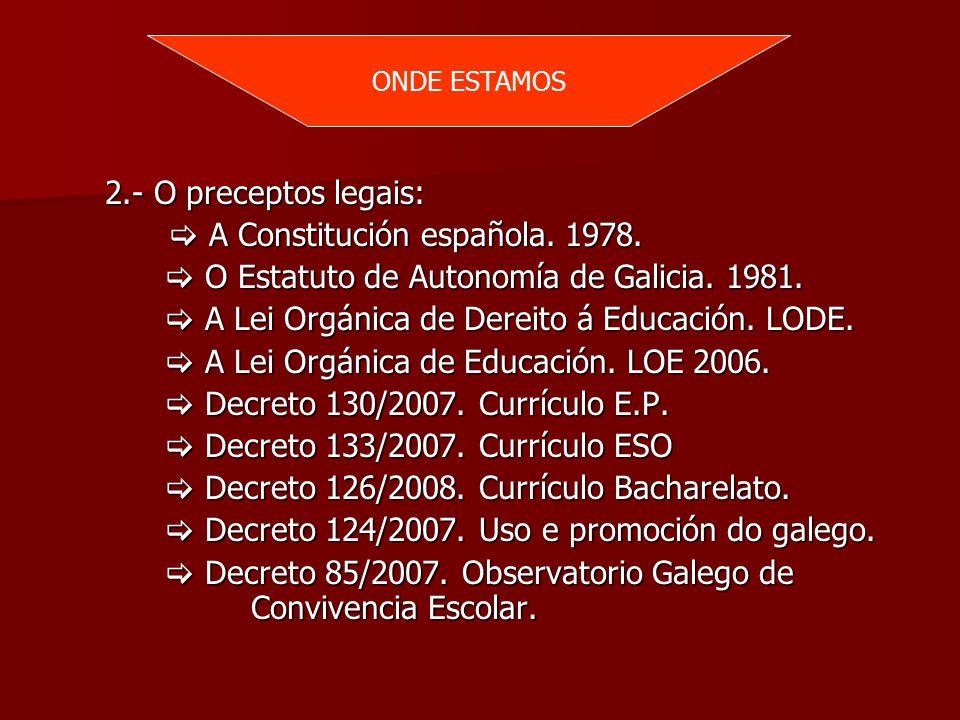 ONDE ESTAMOS 2.- O preceptos legais: 2.- O preceptos legais:  A Constitución española.