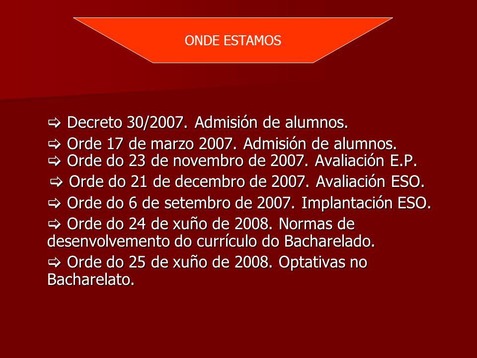  Decreto 30/2007. Admisión de alumnos.  Orde 17 de marzo 2007.