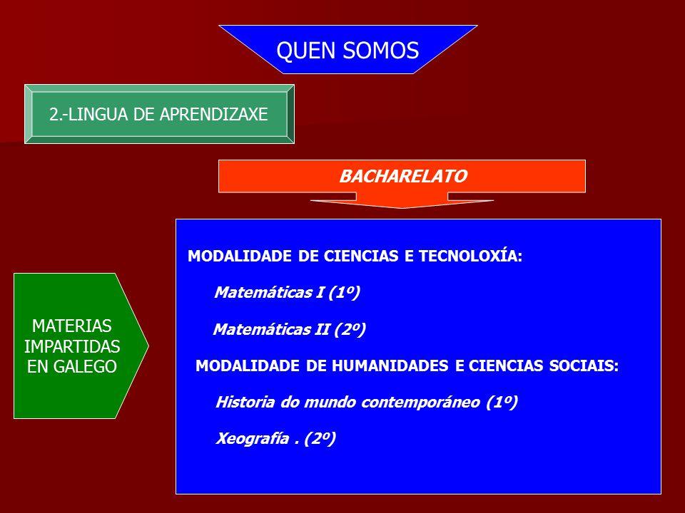 QUEN SOMOS 2.-LINGUA DE APRENDIZAXE BACHARELATO MATERIAS IMPARTIDAS EN GALEGO MODALIDADE DE CIENCIAS E TECNOLOXÍA: Matemáticas I (1º) Matemáticas II (2º) MODALIDADE DE HUMANIDADES E CIENCIAS SOCIAIS: Historia do mundo contemporáneo (1º) Xeografía.