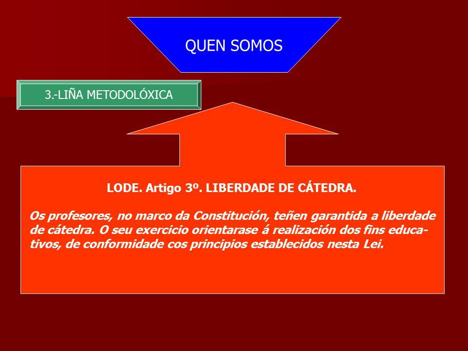 QUEN SOMOS 3.-LIÑA METODOLÓXICA LODE. Artigo 3º. LIBERDADE DE CÁTEDRA.