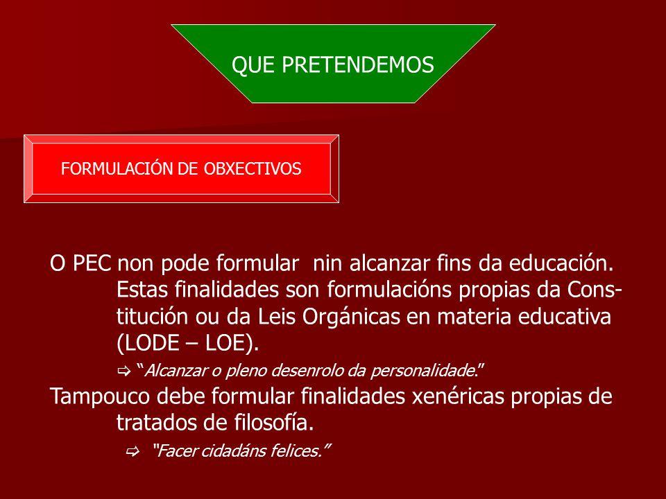 QUE PRETENDEMOS FORMULACIÓN DE OBXECTIVOS O PEC non pode formular nin alcanzar fins da educación.