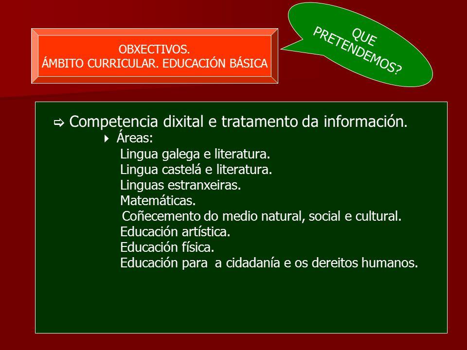 OBXECTIVOS. ÁMBITO CURRICULAR. EDUCACIÓN BÁSICA  Competencia dixital e tratamento da información.