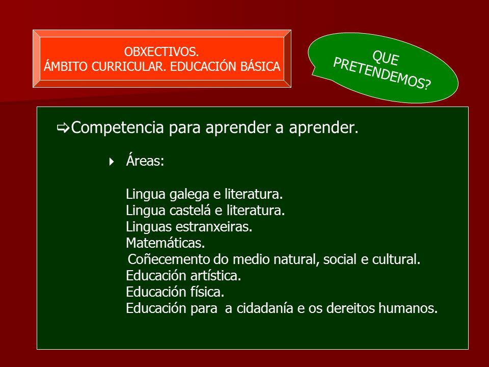 OBXECTIVOS. ÁMBITO CURRICULAR. EDUCACIÓN BÁSICA  Competencia para aprender a aprender.