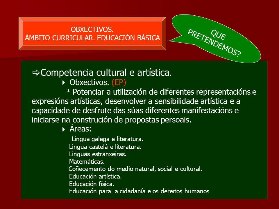 OBXECTIVOS. ÁMBITO CURRICULAR. EDUCACIÓN BÁSICA  Competencia cultural e artística.