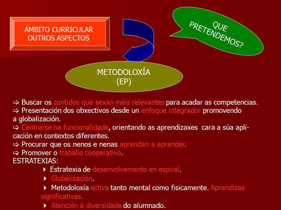 ÁMBITO CURRICULAR OUTROS ASPECTOS METODOLOXÍA (EP)  Buscar os contidos que sexan máis relevantes para acadar as competencias.