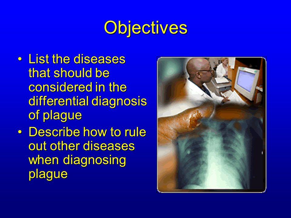 Plague Review Question Lesson 3, Question 1 What diagnoses would you rule out? C. Pneumonic Plague