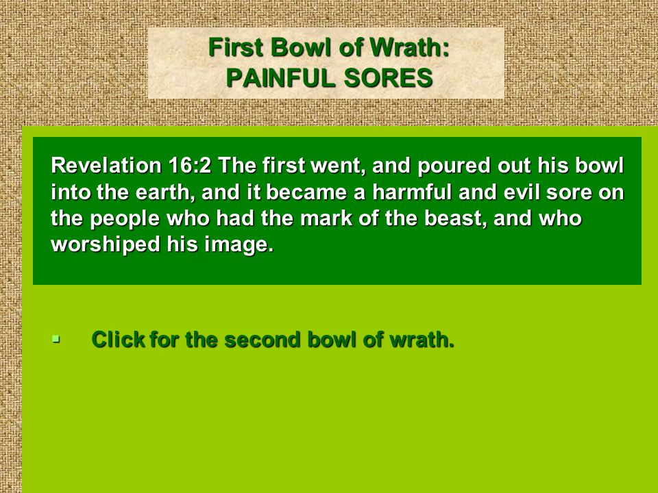 First Bowl of Wrath: PAINFUL SORES Revelation 16:2 The first went, and poured out his bowl into the earth, and it became a harmful and evil sore on the people who had the mark of the beast, and who worshiped his image.