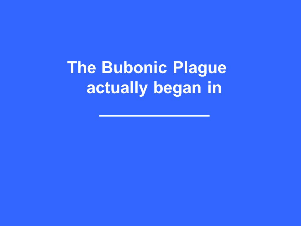 The Bubonic Plague actually began in ____________