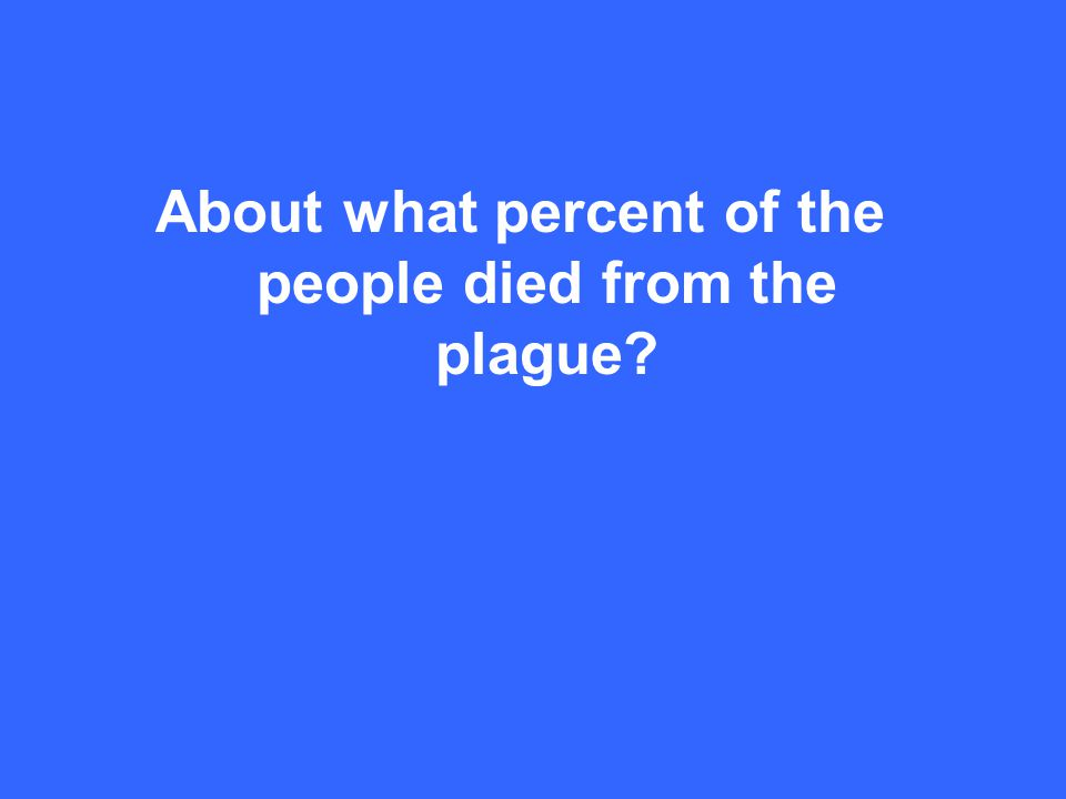 About what percent of the people died from the plague