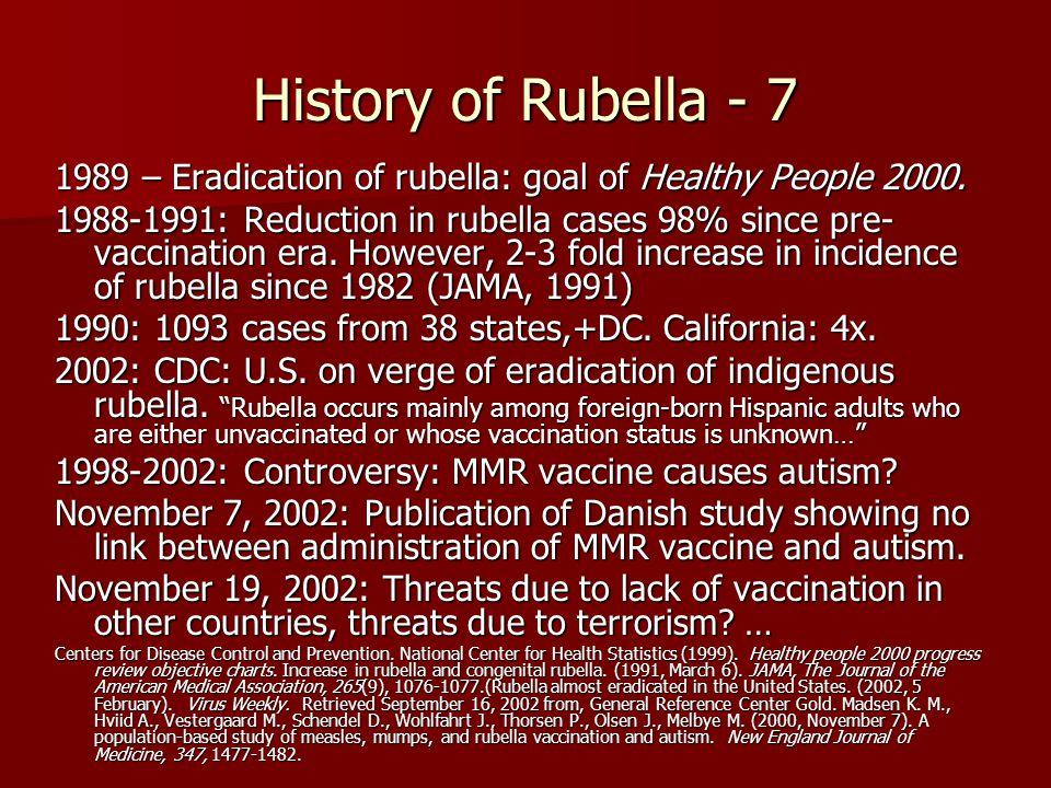 History of Rubella - 7 1989 – Eradication of rubella: goal of Healthy People 2000.