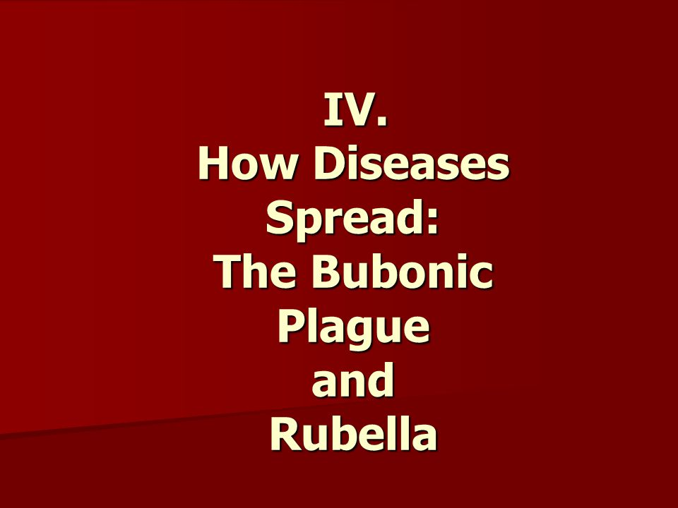 IV.How Diseases Spread: The Bubonic Plague and Rubella IV.