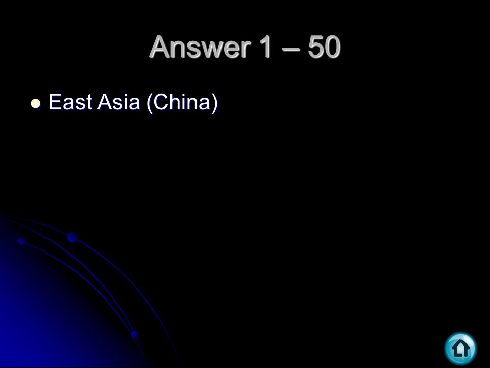 Answer 1 – 50 East Asia (China) East Asia (China)