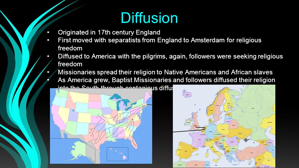 Distribution Today Red is majority Baptist in the US Orange is majority Baptist in the world *Out of Protestant Christians The Baptist church is prominent in the southern US, and is the most prominent of PROTESTANT Christians in the US, Russia, and few other countries.