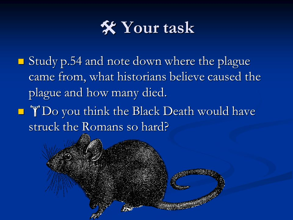  Your task Study p.54 and note down where the plague came from, what historians believe caused the plague and how many died. Study p.54 and note down