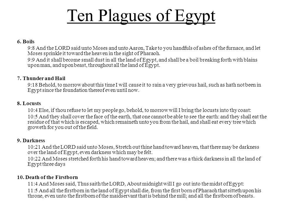 Ten Plagues of Egypt PlagueForewarningTime of warningInstruction formula Bothersome!1.