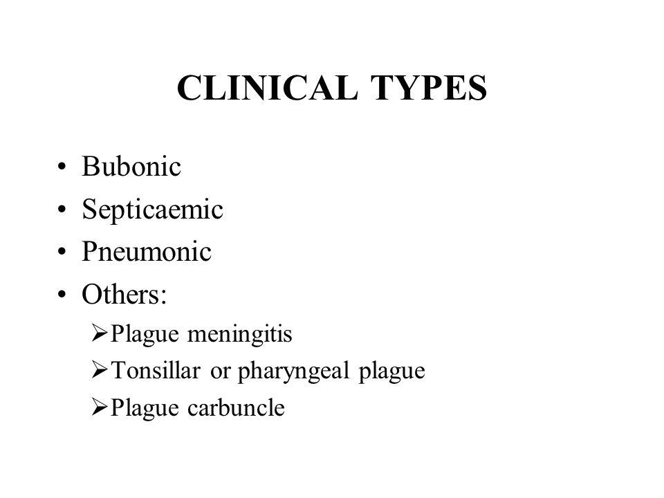 CLINICAL TYPES Bubonic Septicaemic Pneumonic Others:  Plague meningitis  Tonsillar or pharyngeal plague  Plague carbuncle