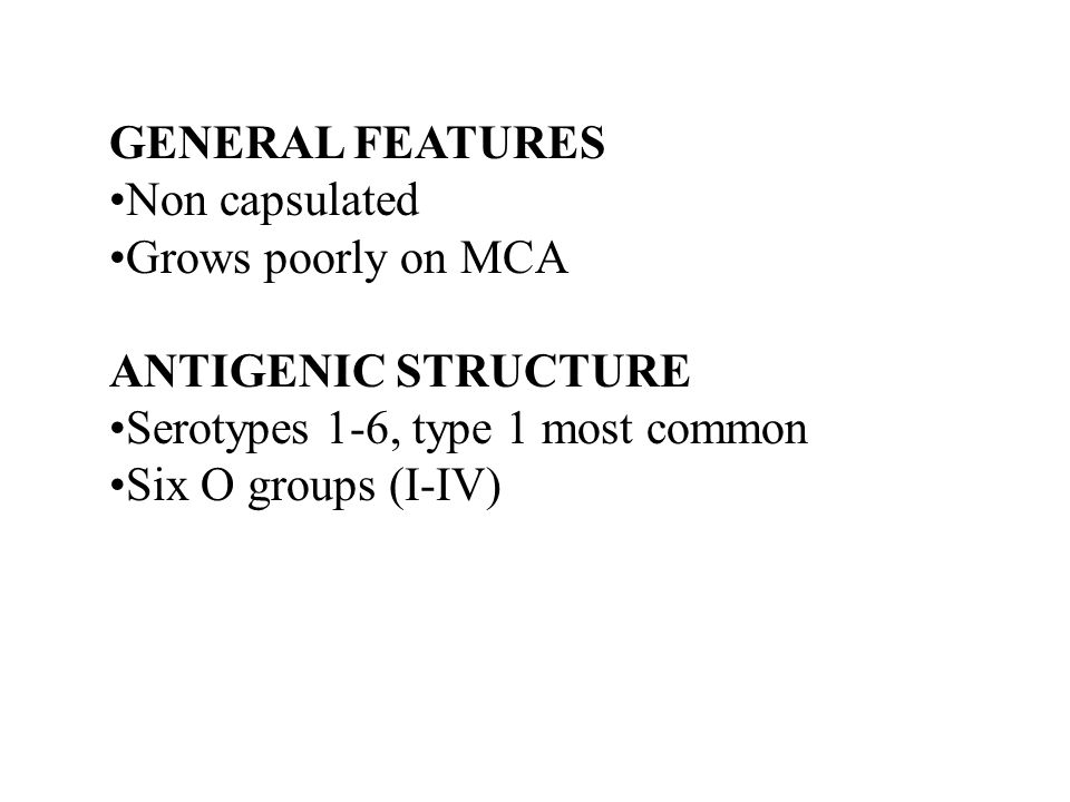 GENERAL FEATURES Non capsulated Grows poorly on MCA ANTIGENIC STRUCTURE Serotypes 1-6, type 1 most common Six O groups (I-IV)