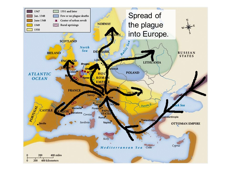 Spread of the plague into Europe.