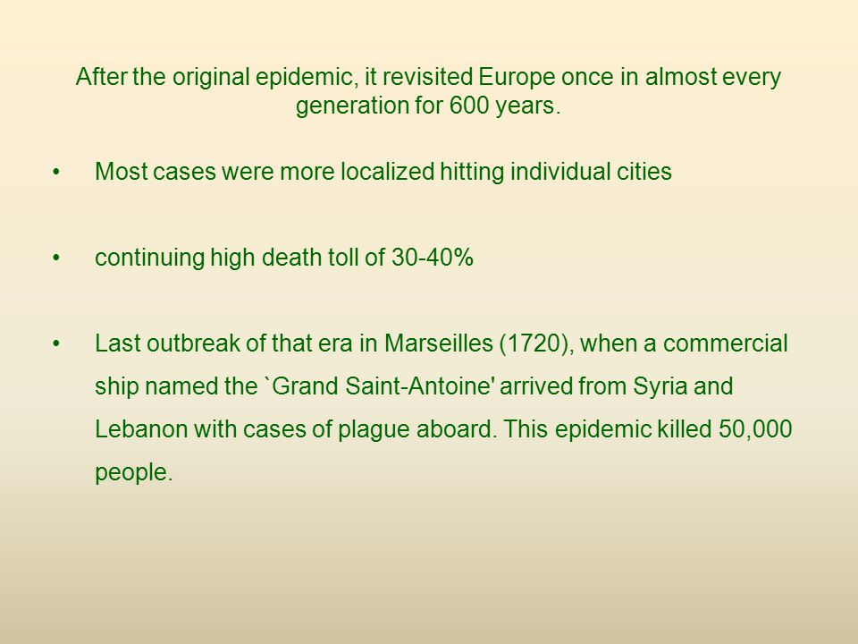 After the original epidemic, it revisited Europe once in almost every generation for 600 years.