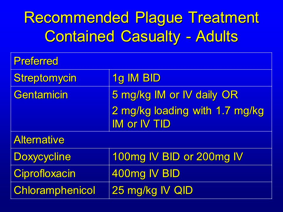 Recommended Plague Treatment Contained Casualty - Adults Preferred Streptomycin 1g IM BID Gentamicin 5 mg/kg IM or IV daily OR 2 mg/kg loading with 1.7 mg/kg IM or IV TID Alternative Doxycycline 100mg IV BID or 200mg IV Ciprofloxacin 400mg IV BID Chloramphenicol 25 mg/kg IV QID