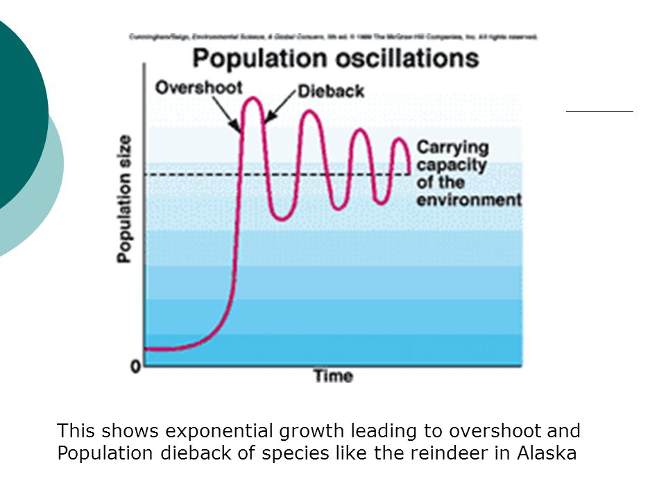 This shows exponential growth leading to overshoot and Population dieback of species like the reindeer in Alaska