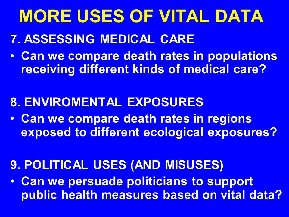 MORE USES OF VITAL DATA 7.
